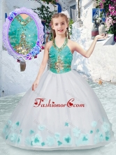 Elegant Halter Top Flower Girl Dresses with Appliques and Beading PAG242FOR