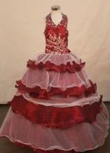 Exclusive Ball Gown Halter Top Floor-length Burgundy Taffeta Flower Gril dress Style FA-L-436