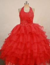 Exclusive Ball Gown Halter Top Floor-length Red Organza Beading Flower Gril dress Style FA-L-412