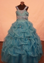 Exclusive Ball Gown Strap Floor-length Teal Beading Flower Gril dress Style FA-L-425