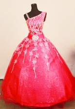 Exquisite Ball Gown One Shoulder Neck Floor-Length Organza Little Girl Pageant Dresses Style FA-Y-360