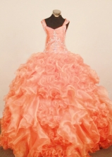 Exquisite Ball Gown Strap Floor-Length Orange Red Little Girl Pageant Dresses Style FA-Y-336