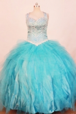 Exquisite Ball Gown Strap Floor-Length Teal Little Girl Pageant Dresses Style FA-Y-317