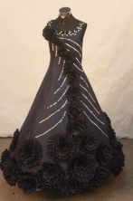 Exquisite Ball Gown Strap Floor-length Black Satin Beading Flower Gril dress Style FA-L-440