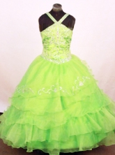 Exquisite Ball Gown Straps Floor-Length Green Little Girl Pageant Dresses Style FA-Y-331