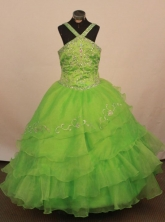 Exquisite Ball gown Halter top neck Floor-Length Little Girl Pageant Dresses Style FA-Y-331
