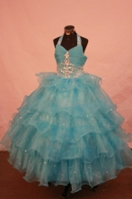 Exquisite Ball gown Halter top neck Floor-length Blue Beading Flower Girl Dresses Style FA-C-265