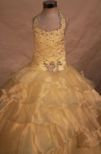 Exquisite Ball gown Halter top neck Yellow Beading Floor-length Flower Girl Dresses Style FA-C-252