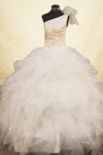 Exquisite Ball gown One-shoulder Neck Floor-length Flower Girl Dresses Style FA-C-137