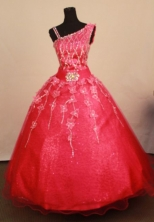 Exquisite Ball gown One shoulder neck Floor-Length Little Girl Pageant Dresses Style FA-Y-360