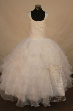 Exquisite Ball gown Square Floor-length White Beading Flower Girl Dresses Style FA-C-245