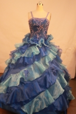 Exquisite Ball gown Strap Floor-length Litter Girl Pageant Dress Style FA-W-292