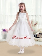 Latest Scoop White Flower Girl Dresses with Beading and Appliques   FGL232FOR