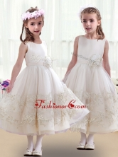Lovely Scoop Flower Girl Dresses with Beading and AppliquesFGL251FOR
