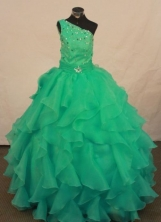 Fashionable Ball Gown Floor-length Green Organza Beading Flower Gril dress Style FA-L-432