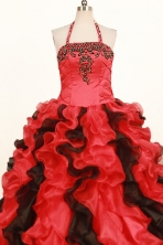 Fashionable Ball Gown Halter Floor-Length Red Little Girl Pageant Dresses Style FA-Y-342