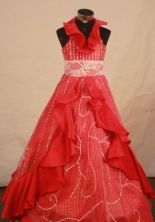 Fashionable Ball Gown Halter Top Floor-length Red Taffeta Beading Flower Gril dress Style FA-L-414