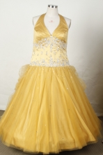 Fashionable Ball Gown Halter Top Neck Floor-Length Gold Appliques and Beading Flower Girl Dresses Y042432
