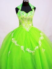 Fashionable Ball Gown Halter Top Neck Floor-Length Spring Green Beading and Appliques Flower Girl Dresses Style FA-S-218