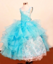Fashionable Ball Gown Square Neck Floor-Length Lace Little Girl Pageant Dresses Style FA-Y-354