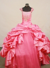 Fashionable Ball Gown Square Neck Floor-Length Taffeta Little Girl Pageant Dresses Style FA-Y-305