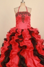 Fashionable Ball gown Halter top neck Floor-Length Little Girl Pageant Dresses Style FA-Y-342