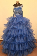 Fashionable Ball gown One shoulder neck Floor-Length Little Girl Pageant Dresses Style FA-Y-345