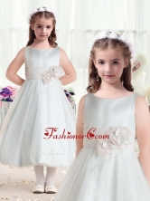 Fashionable Bateau Flower Girl Dresses with Hand Made FlowersFGL275FOR