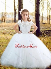 Fashionable Scoop Really Puffy Flower Girl Dress with Hand Made Flowers and Appliques FGL351FOR