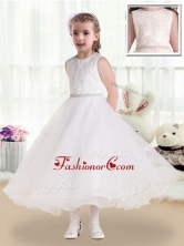 Fashionable Scoop Tea Length Flower Girl Dresses with Lace FGL226FOR