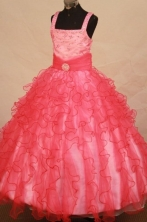 Formal Ball gown Square Floor-length Organza Beading Flower Girl Dresses Style FA-C-246
