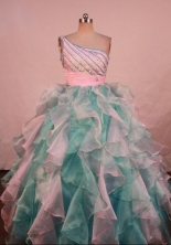 Gorgeous Ball Gown Floor-length Aqua Blue Organza Beading Flower Gril dress Style FA-L-421