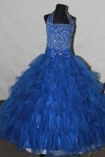 Gorgeous Ball gown Halter top neck Floor-length Flower Girl Dresses Style FA-C-123