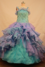 Gorgeous Ball gown Strap Floor-length Litter Girl Pageant Dress Style FA-W-285