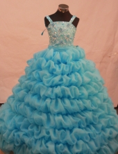 Gorgeous Ball gown Strap Floor-length Litter Girl Pageant Dress Style FA-W-298