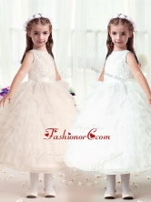 Hot Sale Ball Gown Bateau Flower Girl Dresses with RufflesFGL279FOR