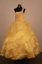 Inexpensive Ball gown One shulder neck Floor-Length Flower Girl Dress Style FA-Y-56
