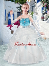 Latest Spaghetti Straps Flower Girl Dresses with Appliques and Bubles FGL301FOR