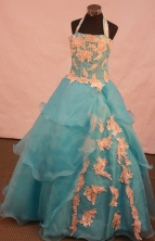Lovely A-line Halter top neck Floor-length Litter Girl Pageant Dress Style FA-W-287