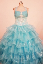 Lovely Ball Gown Halter Floor-Length Aqua Blue Organza Little Girl Pageant Dresses Style FA-Y-325