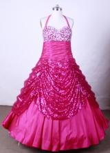 Lovely Ball Gown Halter Top Neck Floor-Length Fuchsia Beading Flower Girl Dresses Style FA-S-201