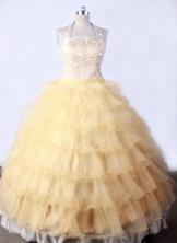 Lovely Ball Gown Halter Top Neck Floor-Length Gold Beading Flower Girl Dresses Style FA-S-200