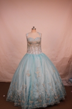 Lovely Ball Gown Halter Top Neck Floor-Length Light Blue Appliques and Beading Flower Girl Dresses Style Y042423