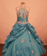 Lovely Ball Gown Halter Top Neck Floor-Length Light Blue Appliques and Beading Flower Girl Dresses Y042422
