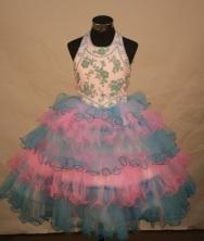 Lovely Ball Gown Halter Top Neck Floor-Length Light Blue Beading Flower Girl Dresses Style FA-S-239