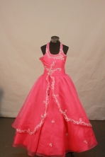 Lovely Ball Gown Halter Top Neck Floor-Length Red Beading and Appliques Flower Girl Dresses Y042412