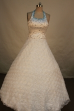 Lovely Ball Gown Halter Top Neck Floor-Length White Beading Flower Girl Dresses Style FA-S-238