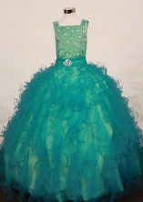 Lovely Ball Gown Square neck Floor-Length Teal Little Girl Pageant Dresses Style FA-Y-323