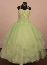 Low price Ball gown Strap Floor-Length Little Girl Pageant Dresses Style FA-Y-327