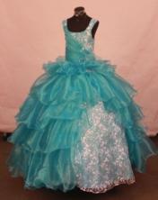 Luxurious Ball Gown Off The Shoulder Neckline Floor-Length Light Blue Beading Flower Girl Dresses Y042427